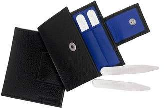 Jan Leslie COLLAR STAYS SET WITH LEATHER CASE
