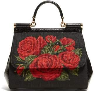 af8233327d69 Dolce   Gabbana Sicily Rose Stitched Cross Body Bag - Womens - Black Multi