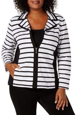 Karen Scott Plus Striped Front-Zip Jacket