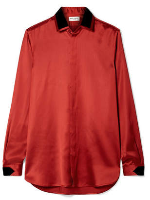 Saint Laurent Velvet-trimmed Satin Blouse - Brick