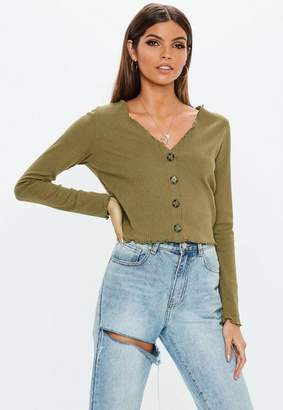 Missguided Khaki Horn Button Lettuce Hem Ribbed Crop Top