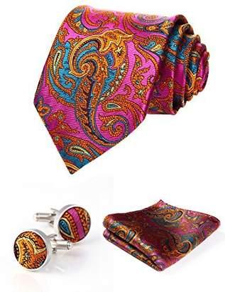 HISDERN Men's Paisley Wedding Silk Neck Tie and Pocket Square Cufflinks 3pcs Set Hot Pink/Orange