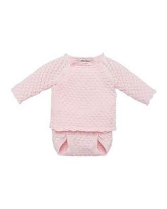 Carrera Pili Waffle Knit Sweater w/ Matching Diaper Cover, Size 3-12 Months