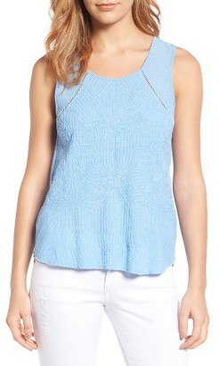 Women's Lucky Brand Embroidered Mixed Media Shell $59.50 thestylecure.com