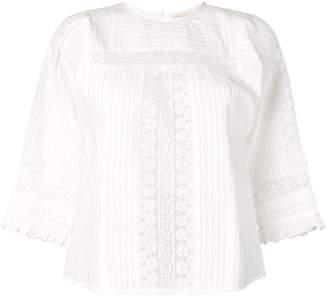 Vanessa Bruno lace panel pleated blouse