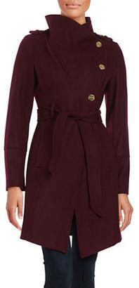 Guess Asymmetrical Wool-Blend Coat $280 thestylecure.com