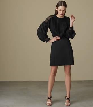 Reiss LIA LACE-DETAIL DRESS Black