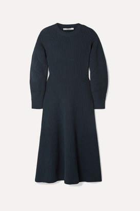 Givenchy Ribbed Wool-blend Midi Dress - Storm blue