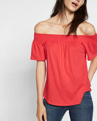 Express Petite Smocked Off The Shoulder Tee