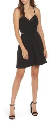 Speechless Lace Trim Skater Dress