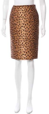Michael Kors Wool Cheetah Printed Skirt