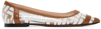 Fendi Brown and White PVC Colibri Ballerina Flats