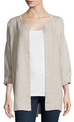 Eileen Fisher Hopsack Linen Boxy Jacket $338 thestylecure.com