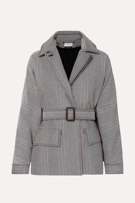 By Malene Birger Rawil Belted Checked Cotton-blend Twill Jacket