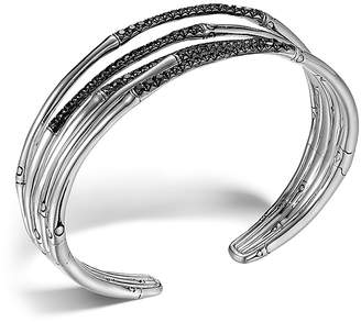 John Hardy Bamboo Silver Lava Narrow Flex Cuff with Black Sapphires