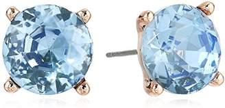 Badgley Mischka Womens Blue Round Stone Stud Earrings