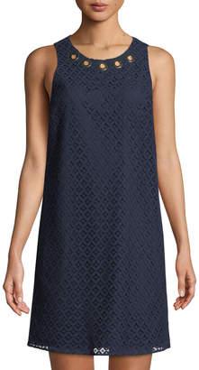 MICHAEL Michael Kors Grommet-Neck Lace Sleeveless Dress