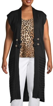 What's Next Women's Plus Sleeveless Knit Cardigan