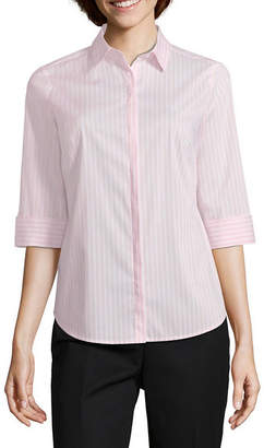 Liz Claiborne 3/4 Sleeve Button Front Shirt