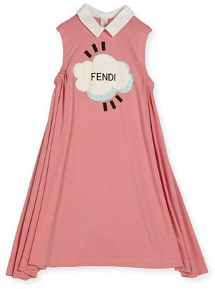 Fendi Sleeveless Collared Logo Swing Dress, Pink, Size 3-5 $255 thestylecure.com