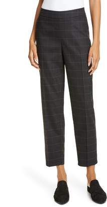 Eileen Fisher Windowpane Plaid Stretch Wool Ankle Pants