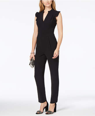 Adelyn Rae Ruffled V-Neck Jumpsuit