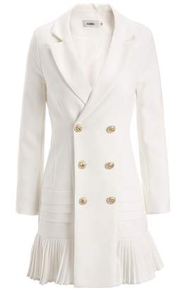 AOMEI Blazer Dress for Office Lady with Pleated Button Closure