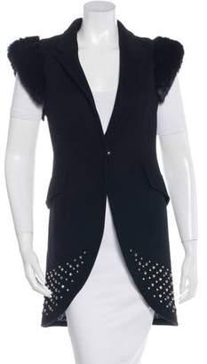 Thomas Wylde Fur-Trimmed Wool Vest w/ Tags