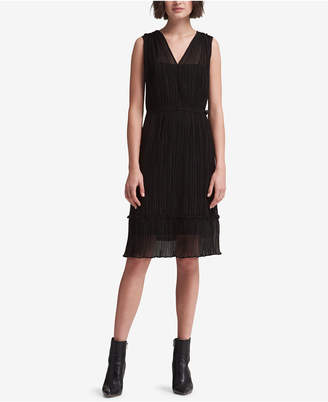 DKNY Pleated Wrap Dress