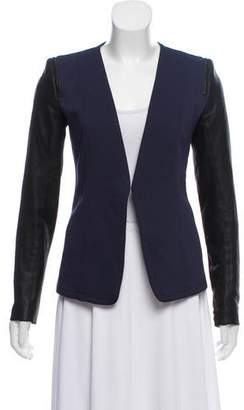 Theory Leather-Accented Open Front Blazer