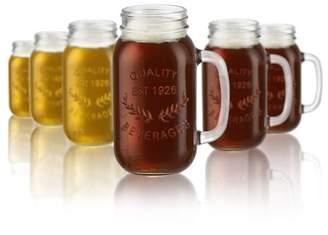 Masonware Mason Jar Beverage Mug 22 ounce 6 piece set