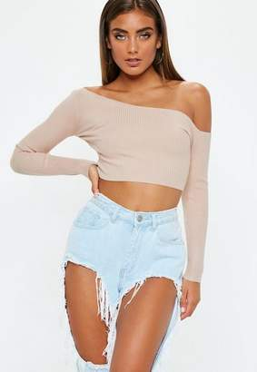 Missguided Nude Ribbed Cropped One Shoulder Knit Top