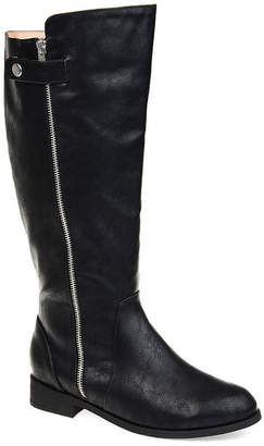 ed7d3f6b6 Journee Collection Womens Kasim Wide Calf Stacked Heel Zip Riding Boots