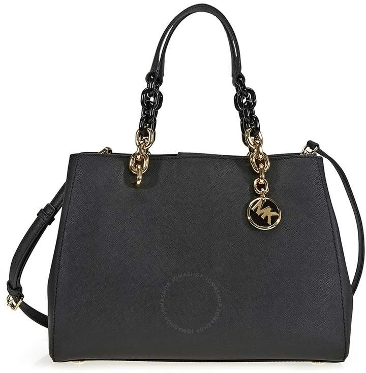 Michael Kors Cynthia Medium Leather Satchel - Black - ONE COLOR - STYLE