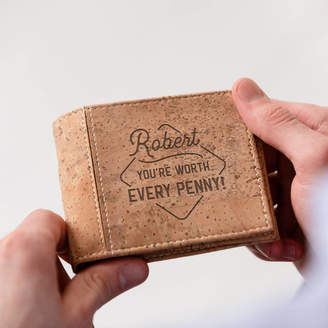 de71aba3f33b7f Dust and Things Personalised 'Worth Every Penny' Cork Wallet ...