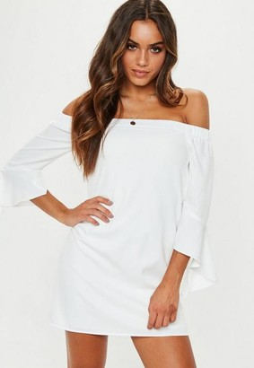 Missguided White Bardot Frill Sleeve Shift Dress