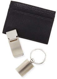Faux-Leather Money Clip Wallet Set
