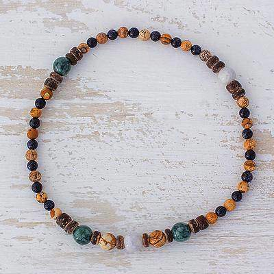Mountain Nights Jade Multi-Gemstone Beaded Anklet from Guatemala