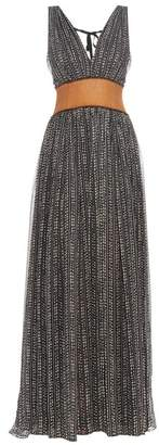 Sophie Theallet Silk Chiffon Raffia Waistband Gown - Womens - Black Multi