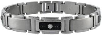 Lynx Stainless Steel 1/10-ct. T.W. Diamond & Carbon Fiber Bracelet
