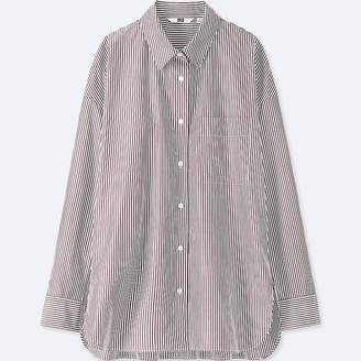 Uniqlo Women's Extra Fine Cotton Striped Long-sleeve Shirt