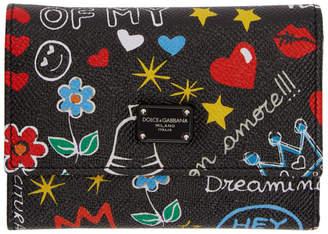 Dolce & Gabbana Black Small Graffiti Trifold Wallet