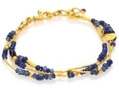 Gurhan Delicate Rain Blue Sapphire& 24K Yellow Gold Triple-Strand Bracelet