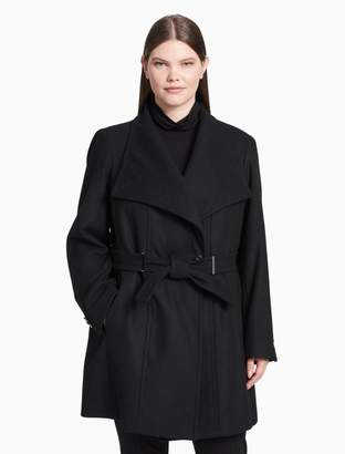 Calvin Klein plus size double breasted belted coat
