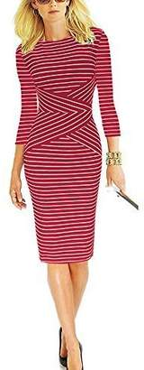 REPHYLLIS Women 3/4 Sleeve Striped Wear to Work Business Cocktail Party Summer Pencil Dress S