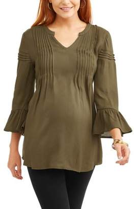 Planet Motherhood Maternity Woven Slub Pleated Bell Long Sleeve Sleeve Top