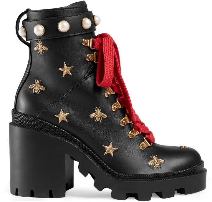 Leather embroidered ankle boot