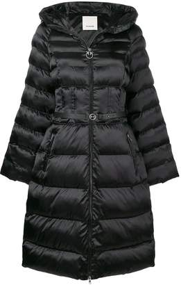 Pinko long belted puffer jacket