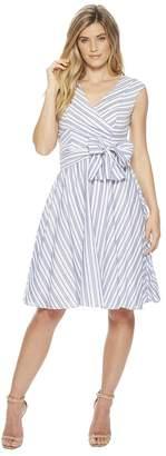 Calvin Klein Striped V-Neck A-line Dress with Self Tie Waist CD8GBR3J Women's Dress