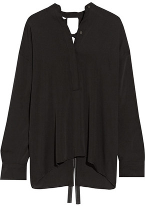 Helmut Lang - Open-back Stretch-silk Blouse - Black $370 thestylecure.com